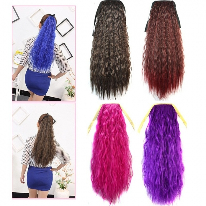 10 Colors Wavy Ponytail Wigs Hairpiece Women s Hair Extension Synthetic  Chemical Fiber Wig black 60  a39f3ac7f8