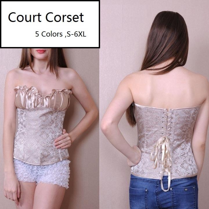 026c973887d Sexy Court Corset Strapless Shaped Corset Woman's Slim Fit Bodysuit Fashion  Women's Clothing khaki L