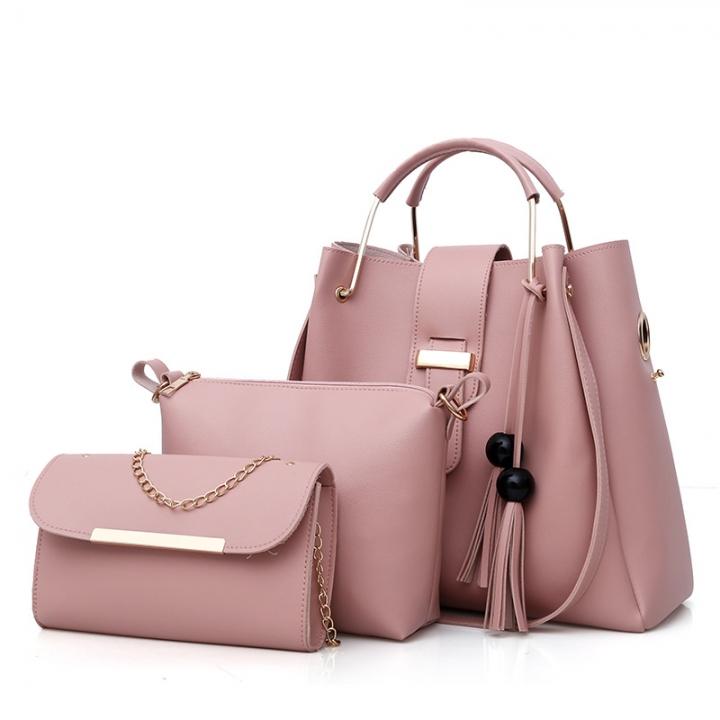 Women Handbags PU Leather Shoulder Bags Large Capacity Casual Tote Bag  Tassel Bucket Purses pink 3PCS 736247cb75abd