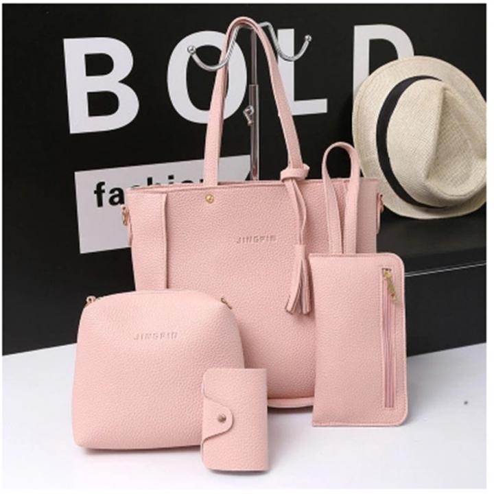 ad47b8989c64 Fashion Women Composite Bag Tassel PU Leather Shoulder Bag Female Clutch Handbag  Set Large Tote pink