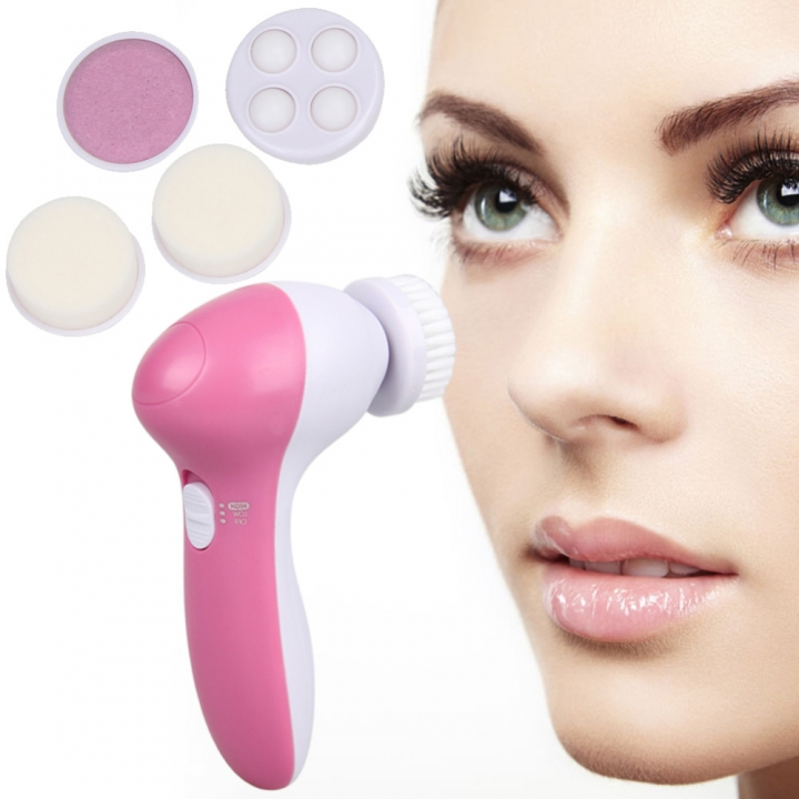 Hot! Deep Clean 5 In 1 Electric Facial Cleaner Face Skin Care Brush Massager Waterproof Spin pink