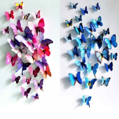 Newsale Pretty Delicate 3D Butterflies Room Wall Art Home DIY Decoration Stickers corlorful onesize