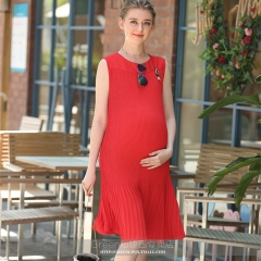 Summer Chiffon Maternity Long Dress Tank Vest Clothes for Pregnant Women Pregnancy Clothing Vestidos red xxl