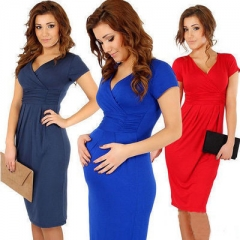 Maternity Dresses Clothes Fashion Pregnancy Dress for Pregnant Dresses Maternity Mummy Clothes red l