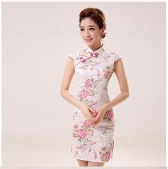Silk Satin Cheongsam Chinese Traditional Dress Vestido Sleeveless Female High Neck Qipao red s