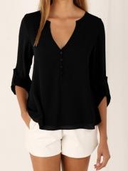 Blouses women's 2018 New Explosion Models V-neck Sexy Camisa Feminina long-sleeved Chiffon Shirt black s