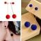 Fashion Cute Double Faux Fur Ball Drop Earrings for Women Long Earrings Jewelry Earring Pendant grey one size