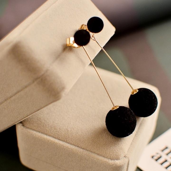 Fashion Cute Double Faux Fur Ball Drop Earrings for Women Long Earrings Jewelry Earring Pendant black one size