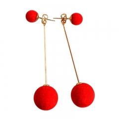 Fashion Cute Double Faux Fur Ball Drop Earrings for Women Long Earrings Jewelry Earring Pendant red one size