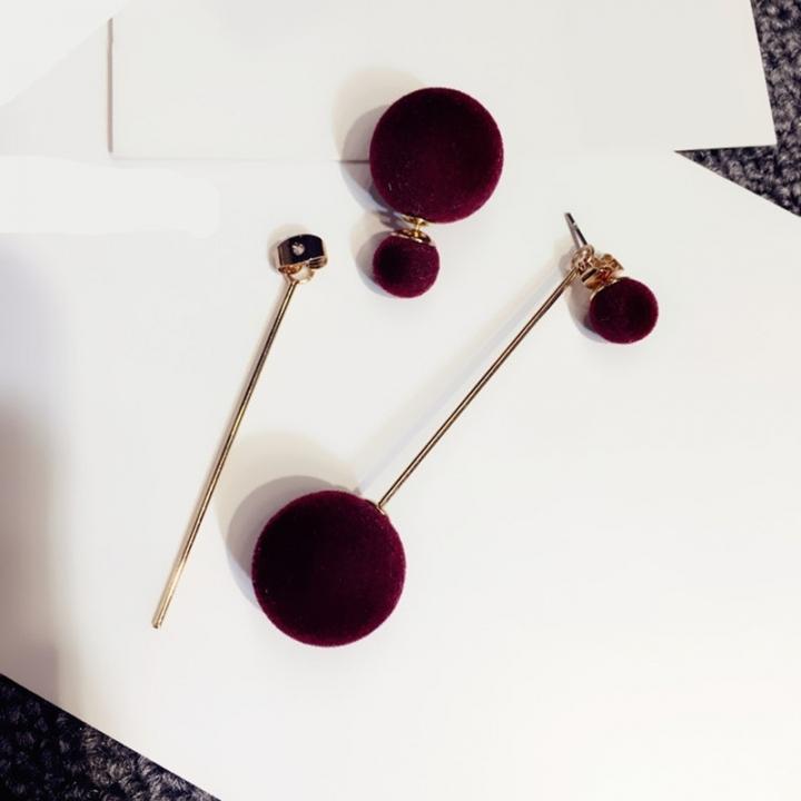 Fashion Cute Double Faux Fur Ball Drop Earrings for Women Long Earrings Jewelry Earring Pendant wine red one size