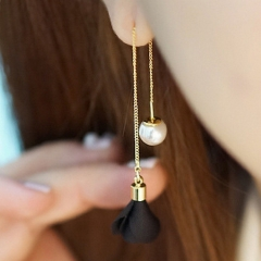 8 Colors Flower Long Drop Earrings For Women Fashion Imitation Pearl Dangle Elegant Party Jewelry black one size