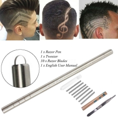Fashion hairstyle Salon Razor Pen With 10 Blades Hair Styling Engraved Steel Eyebrows Shaping as picture onesize