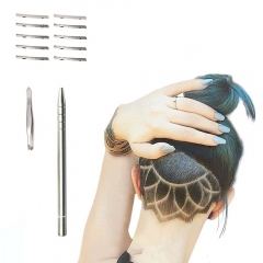 Hair Tattoo Straight Razor, Face Eyebrow Hair Shaping Trimmer Engraved Razor Stick as picture onesize