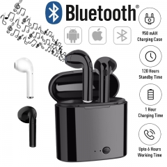 Earpods Double Ear Bluetooth V4.0 Earphone With Battery Box Portable Wireless Earbuds Headset black black