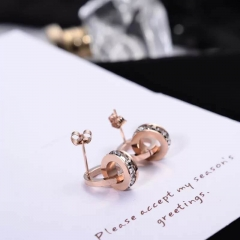 Roman Numerals Zircon Stud Earring for Woman 316L Stainless Steel Fashion Jewelry Never Fade as picture one size