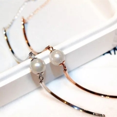 pearl Beads bracelet Amulets 316l stainless steel jewelry for women prevent discoloration gold one size