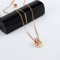 Women Jewelry Roman Numerals Pendant Necklace 316L High Polish Stainless Steel Jewelry gold one size