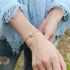 Double Circle Letter Chain Roman Numerals Woman Gift Bracelet Stainless Steel Jewelry Do not Fade as picture one size