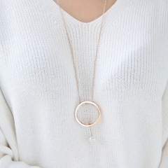 Brand Jewelry  Triangle Round Necklace 72cm Fashion 316L Stainless Steel for Women Never Fade as picture one size