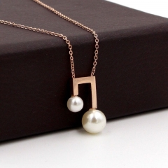 new arrival fashion pearl COLLAR NECKLACE musical titanium steel woman jewelry gift never fade as picture one size