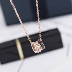 fashion black white crystal round pendant necklace titanium steel jewelry woman gift never fade gold one size