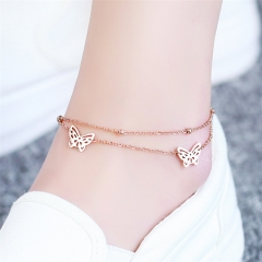 Fashion Butterfly Double Layer Chain Anklet Woman Gift 316L Top Quality Stainless Steel Do not Fade as picture one size