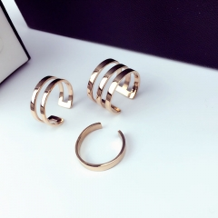 Classic  Rings Set for Women Girl Jewelry 316L Stainless Steel Prevent Allergy and Fade as picture 1 layer