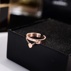 Fashion Pendant Open Heart Rings  Fashion Jewelry Titanium Steel Birthday Gift Woman Drop Shipping gold one size