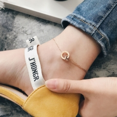 Anklet Double Chain Circle Letter Roman Numerals Woman Gift Stainless Steel Jewelry Do not Fade as picture one size