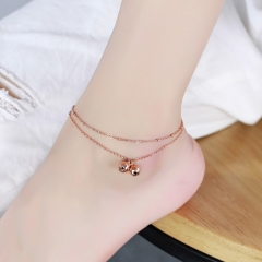 Anklet Double Bells Chain Charm Woman Girl Gift 316L Top Quality Stainless Steel Never Fade as picture one size