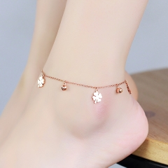 Anklet Flower and Bell Chain Gift Woman Girl 316L Top Quality Stainless Steel Never Fade as picture one size