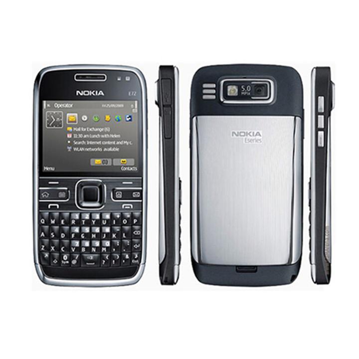 Refurbished Nokia phone Nokia E72 cell phones 5MP Camera Wifi Bluetooth FM GPS phone silver
