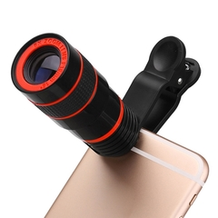 Universal 8X Zoom Mobile Telescope Lens Telephoto External Smartphone Camera Lens for phone tablet blackred one size