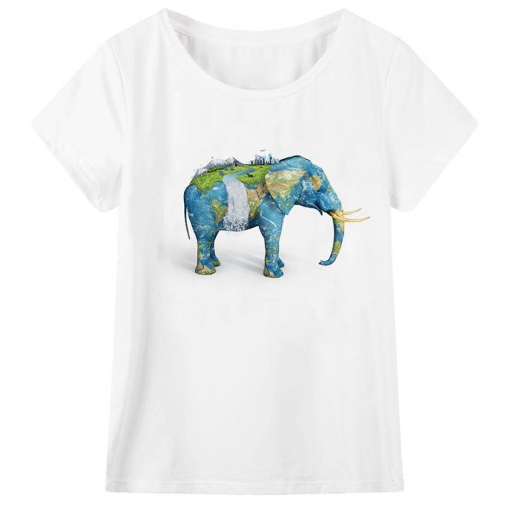 91690ebf412350 Casual print T-shirt short sleeved shirt elephant element men s ...