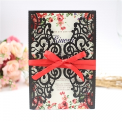 TBC 100pcs Wedding Card Cover Laser-cut Invitation Card Jacket WITHOUT insert Q008 125*186mm pick your color