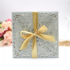 TBC 100pcs Wedding Card Cover Laser-cut Invitation Card Jacket WITHOUT insert Q011 150*150mm pick your color