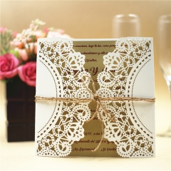 TBC 100pcs Wedding Card Cover Laser-cut Invitation Card Jacket WITHOUT insert Q014 150*150mm pick your color