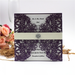 TBC 100pcs Wedding Card Cover Laser-cut Invitation Card Jacket WITHOUT insert Q047 150*150mm pick your color