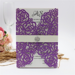 TBC 100pcs Wedding Card Cover Laser-cut Invitation Card Jacket WITHOUT insert Q034 125*186mm pick your color