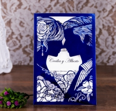 TBC 100pcs Wedding Card Cover Laser-cut Invitation Card Jacket WITHOUT insert Q051 125*186mm pick your color