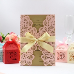 TBC 100pcs Wedding Card Cover Laser-cut Invitation Card Jacket WITHOUT insert Q103 125*186mm pick your color