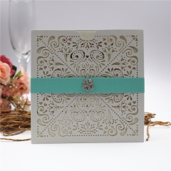 TBC 100pcs Wedding Card Cover Laser-cut Invitation Card Jacket WITHOUT insert Q075 150*150mm pick your color