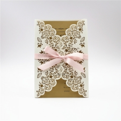 TBC 100pcs Wedding Card Cover Laser-cut Invitation Card Jacket WITHOUT insert Q122 125*186mm pick your color