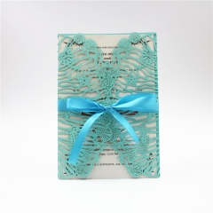 TBC 100pcs Wedding Card Cover Laser-cut Invitation Card Jacket WITHOUT insert Q126 125*186mm pick your color