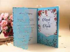 TBC 100pcs Wedding Card Cover Laser-cut Invitation Card Jacket WITHOUT insert Q117 125*186mm pick your color