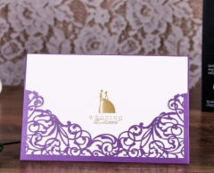 TBC 100pcs Wedding Card Cover Laser-cut Invitation Card Jacket WITHOUT insert Q004 125*186mm Pick your color