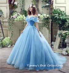 TBC Wedding dress elegant wedding gown Lovely dress non-sleeves us6 Blue