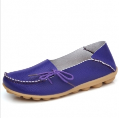 TBC Lovely leather loafers for big size feet maroon purple pink blue peach ivory flat shoes Peach 37