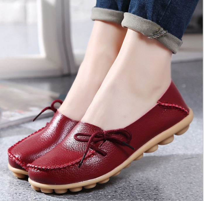 TBC Lovely leather loafers for big size feet oversize flat shoes summer versions coming Maroon 40