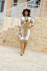 TBC African style long-sleeve knee-length dress s white
